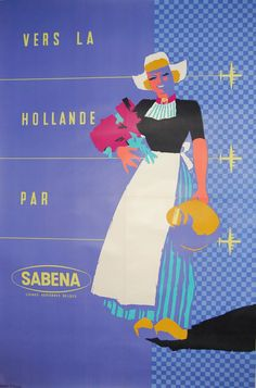 Vintage Travel Poster - The Netherlands - (Sabena).