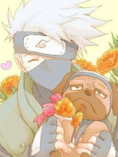 Kakashi and Pakkun THIS IS THE MOST CUTEST THING IN THE WORLD! I Just aajfenxowm!!