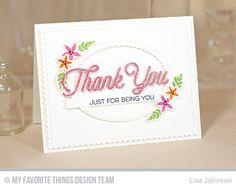 Handmade card from Lisa Johnson featuring Stitched Oval Scallop Frames #mftstamps