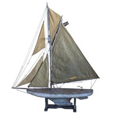 Large 19th C English antique pond yacht still with its original blue paint finish.