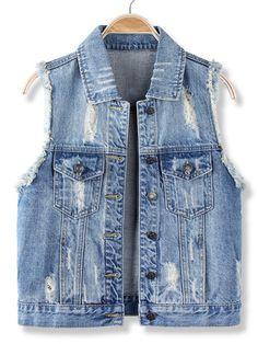 8d49eb8440016 Casual Blue Sleeveless Vest Jean Denim Jacket at Banggood