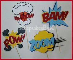 Superhero call out photo booth props #cricutexplore zoom bam pow kaboom