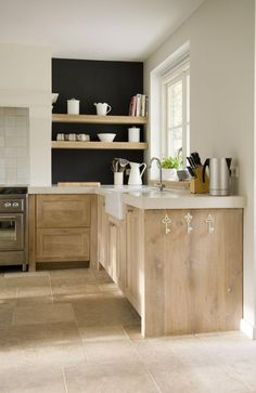 24 Kitchen Open Shelves Ideas - driftwood kitchen with tile floor and black accent wall. kitchen inspo