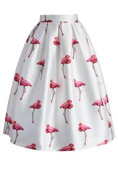 Elegante Falda Línea A con Estampado de Flamencos - Skirt - Bottoms - Retro, Indie and Unique Fashion
