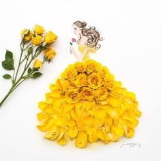 Belle Beauty and the Beast. Real Flowers in Drawings of Dresses. By Limzy.