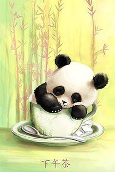 Panda cub cup by `trenchmaker on deviantart kawaii ♥ рисунок Panda Kawaii, Niedlicher Panda, Panda Love, Cute Panda, Panda Wallpapers, Cute Wallpapers, Animal Drawings, Cute Drawings, Painting Art