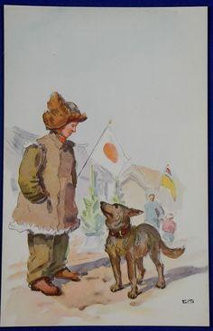 1930's Propaganda Postcard : Chinese Child Supporting Japan & Manchukuo  / vintage antique old military war art card  - Japan War Art