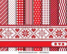stock vector : Christmas digital scrapbooking paper swatches in red and white with Scandinavian style ribbon. EPS10 vector format.