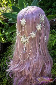 Kawaii Hairstyles, Pretty Hairstyles, Wedding Hairstyles, Witchy Hairstyles, Cosplay Hair, Cosplay Wigs, Kawaii Wigs, Head Jewelry, Jewellery