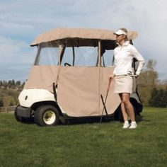Classic Accessories Fairway Deluxe 4-Sided 2-Person Golf Cart Enclosure, Tan New #ClassicAccessories