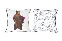 Be the Bear!  Bear features on one side, with monochrome animal spot on reverse. Digitally printed on premium 100% cotton drill Black piping trim Pale gold flat edge stud poppers 40cm x 40cm. Includes removable duck feather pad insert. Warm hand wash, cool iron.  Co-ordinate with our Animal Spot printed fabric, or A to Z giclee printed wall print.  Printed on premium 100% cotton drill