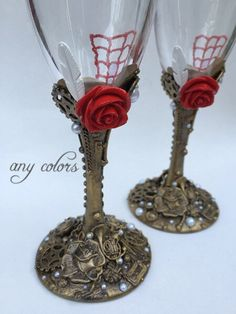 CUSTOM COLOR - Steampunk Toasting Flutes, Steampunk Wedding, Steampunk Wedding Ideas, Steampunk Glasses, Victorian Wedding, Gothic Wedding by SaraDavisDesigns on Etsy https://www.etsy.com/listing/486928726/custom-color-steampunk-toasting-flutes