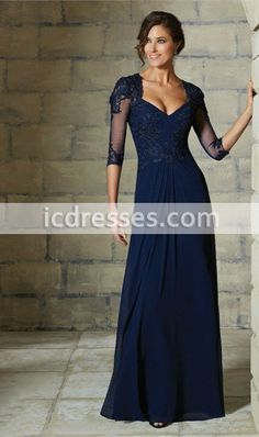 2016 Mother Of The Bride Dresses A-Line Floor Length 3/4 Sleeves Blue Lace Long Evening Dresses Mother Dresses For Weddings