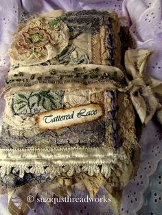 Shabby Chic Tattered Lace Journal by suziqu on Etsy