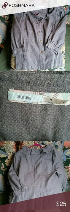 Gray Kimchi Blue Jacket 3/4 length jacket.  Features buttons in the front for closure. 100% cotton.  Worn once,  like new. Kimchi Blue Jackets & Coats