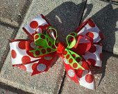 Red, White, and Green Christmas Hair Bow
