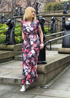 Floral Maxi With Silver Sneakers: In Newcastle - What Lizzy Loves Casual Sunday Outfit, Sunday Outfits, Oversized Long Sleeve Shirt, Long Sleeve Shirts, Smart Casual, Floral Maxi Dress, Stripe Print, Style Me, Style Inspiration