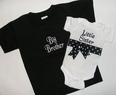 Boutique Custom Black and White  Ribbon  Big Brother  Little Sister Shirts. $31.50, via Etsy.