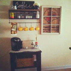 Coffee bar; I have those yellow cups so I like the coordinating colors.