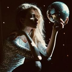 sequin dress + disco ball