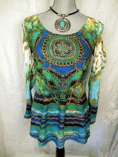 CACHE Top Blue Green Gold Chains Studs Sexy Jewel Boho Knit T Tee Shirt M L #Cache #KnitTop #Casual