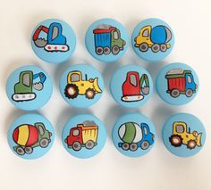 Construction Decor / Dresser Knobs / Construction Art / Construction Knobs and Pulls Hand Painted for Boys, Kids, Nursery Room Decor : Construction Truck Drawer Pulls / Dresser Knobs / by CariBimbi Nursery Room Decor, Nursery Wall Art, Girl Nursery, Wall Decor, Knobs And Pulls, Drawer Pulls, Kind Und Kegel, Painted Rocks, Hand Painted