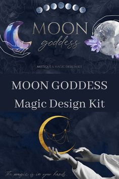 🌙 Meet Moon goddess - mystique and magic design set 🌙 We rarely look at the sky and within ourselves, and it is precisely there that the main miracles occur. Watercolor Texture, Watercolor Background, Magic Design, Gold Palette, Look At The Sky, Modern Logo Design, Moon Design, Moon Goddess, Moon Phases