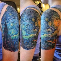 Vincent Van Gogh's starry night tattoo full color completed tonight. Tattooed by Bob Price at Inferno Studios.