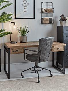 Loft Desk - Home Office - Decorative Home - Indoor Living Home Desk, Home Office Space, Home Office Desks, Office Decor, Loft Office, Cool Office Desk, Home Office Table, Office Style, Industrial Home Offices