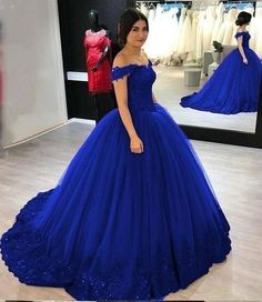 Off the Shoulder Royal Blue Ball Gown Prom Dresses Pageant Dresses with Appliques, Women Evening Dress - long dresses - Gowns Pretty Quinceanera Dresses, Royal Blue Prom Dresses, Princess Prom Dresses, Blue Ball Gowns, Quince Dresses, Ball Gowns Prom, Party Gowns, Ball Dresses, Royal Blue Evening Dress