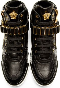 Versace: Black Leather High-Top Sneakers
