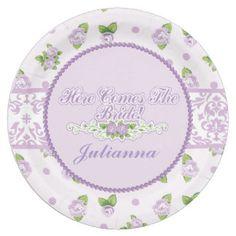 Lavender Damask & Country Rose, Bridal Shower Paper Plate