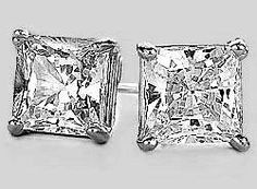 """14k White Gold 6mm (0.24"""") CZ Stud Earrings Princess Cut 2.00 Carat Total Weight AAA D-Flawless Totalheaven. $79.80. AAA Precision Machine Cut Cubic Zirconias. Basket Setting. Solid Plumb Gold Earrings and Earring Backs. Made in USA. Prong Set"""