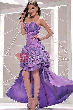 Encantador Vestido de Noche/Prom Silueta Línea A sin Tirantes (Envío Gratuito)