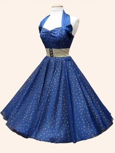 1950s Halterneck Luxury Navy Satin Small Gold Stars Dress - from Vivien of Holloway UK