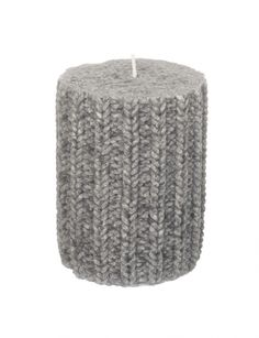 KNITTED Pillar Candle - Grey. I love all things knitted at the moment. These fit right in :)