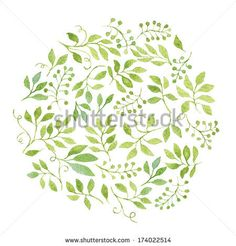 Elegant floral background with green leaves and branches. Vectorized watercolor drawing. by Helga Wigandt, via Shutterstock