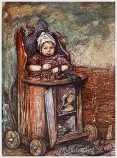 """Baby In Chair"" - by Nico Wilhelm Jungmann – Dutch) Dutch Women, Children's Book Illustration, Book Illustrations, Dutch Painters, Z Arts, Dutch Artists, Funny Art, Holland, Statue"