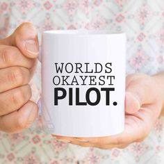 """gift for pilots, pilot wife, """"Worlds okayest pilot"""" funny coffee mug, airplane gifts, aviation gifts, gifts for a pilot, gifts for men MU191 by artRuss on Etsy"""