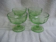 *Block Optic Green Depression Glass  Sherbets Set Of 4