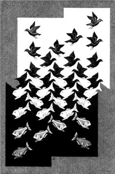 Sky and Water II - Artist: M.C. Escher Completion Date: 1938 Style: Op Art Genre: tessellation