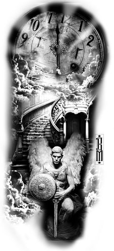 clock angel sky stairs time sky clouds design tattoo black and grey angels