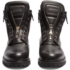Balmain Leather lace-up boots (1,290 CAD) ❤ liked on Polyvore featuring men's fashion, men's shoes, men's boots, mens leather motorcycle boots, mens black boots, mens black biker boots, mens black leather shoes and mens leather shoes