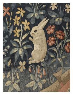 """hicockalorum: """" Medieval symbols Within the worlds of 'The lady and the unicorn' are four trees - Pine, Orange, Holly, Oak - as well as 80 different occurrences of over 40 species of flowers and. Medieval Tapestry, Medieval Art, Medieval Pattern, Medieval Symbols, Lapin Art, Unicorn Tapestries, Rabbit Art, Bunny Art, Art Textile"""