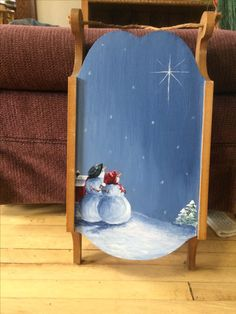 Snowman painted mini sled Christmas Sled, Painted Christmas Ornaments, Primitive Christmas, Rustic Christmas, Primitive Snowmen, Antique Christmas, Primitive Crafts, Christmas Paintings On Canvas, Christmas Canvas