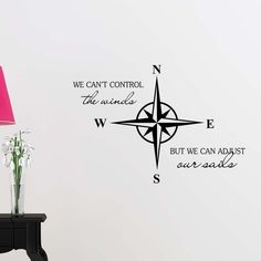RUKI Nautical Star Compass We can't control the winds but we can adjust our sails Anchor ocean beach starfish love cute inspirational family love vinyl quote saying wall art lettering sign room decor Anchor Quotes, Nautical Quotes, Feather Tattoo Design, Owl Tattoo Design, Tattoo Designs, Simple Anchor Tattoo, Anchor Tattoos, Work Quotes, Cute Quotes