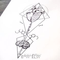 Heart/brain forearm tattoo made for Cynthia (clizett.tumblr.com)