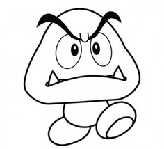mario coloring pages goomba mushroom
