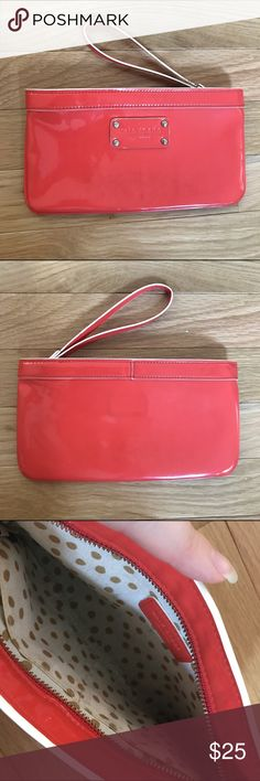 Kate Spade Clutch Super cute and fashionable coral Kate Spade clutch! Perfect for going out when you don't want to carry around a big purse! This is a previously loved bag, there is some wear in the lining as pictured, but in great condition on the outside! kate spade Bags Clutches & Wristlets