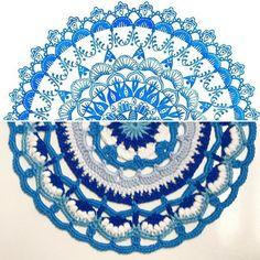 """좋아요 268개, 댓글 14개 - Instagram의 Susan 🙋🏻🇺🇸💟🈴✴️❇️🛄♒️(@suregal27)님: """"I finished my blue mandala, using a pattern from the Modern Crochet Mandalas book by @mobiusgirl.…"""""""